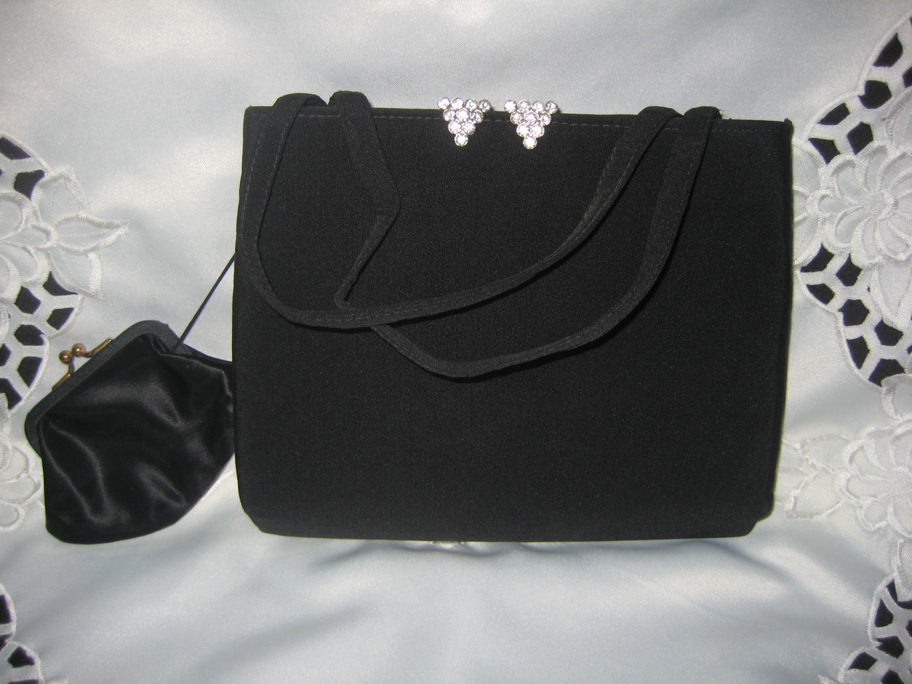 Primary image for Vintage Black evening bag with rhinestone accents