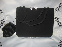 Vintage Black evening bag with rhinestone accents - $20.00