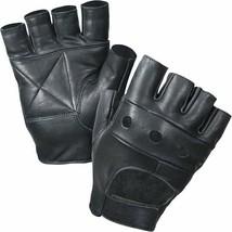 Black Leather Fingerless Motorcycle Biker Gloves - $10.99