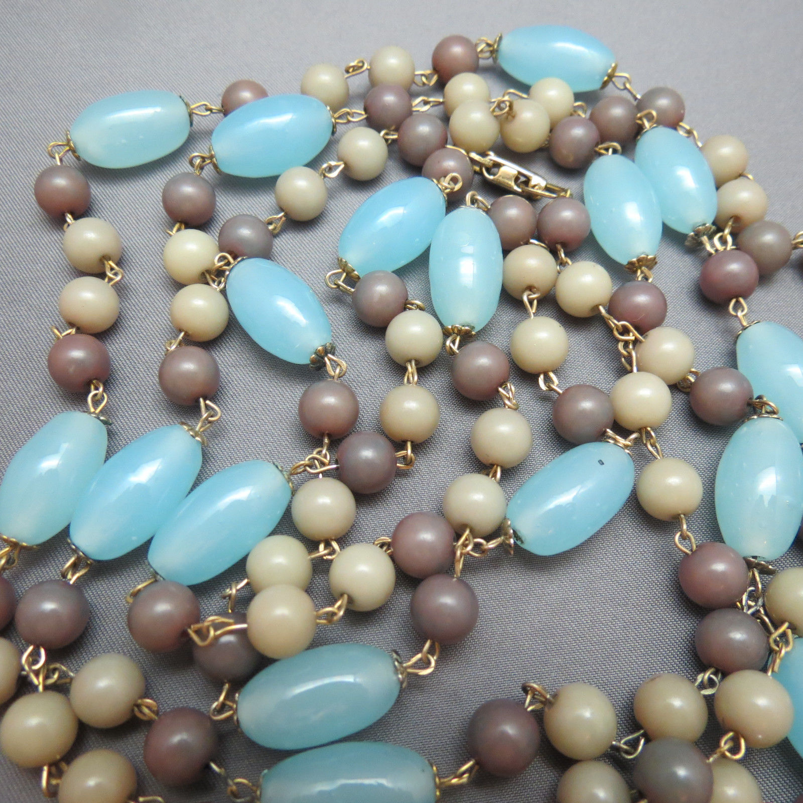 "VTG Long Beaded Necklace 60"" Light Blue Glass Gray Gold Plated Caps Links Cute"