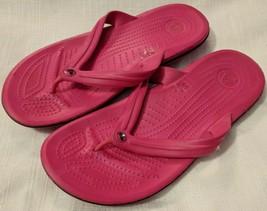Crocs Classic Flip Neon Pink relaxed M 8 W 10 flip flops sandals  - $19.79