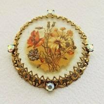 Vintage Brooch Lucite  Iridescent Rhinestone Settings Floral Design  EUC  - $22.49