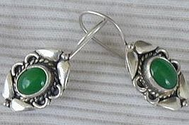 Green silver earrings   - $16.00