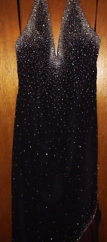 PARTYTIME SEQUINED BLACK/RED EVENING GOWN SIZE 4 NEW
