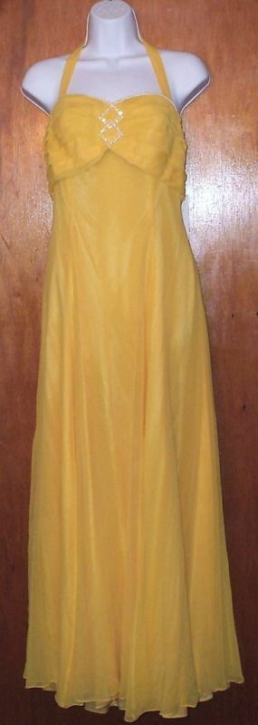 VINTAGE 100% SILK SIZE 10 CANARY YELLOW EVENING GOWN