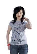 Famous Stars & Straps Womens Heather Grey Blue Flower Swing Set Girls T-Shirt image 2