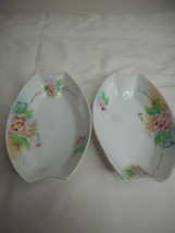 2 Vintage Meito China decorative Dishes Pink Floral Handpainted Trinket ... - $19.79