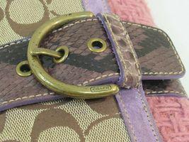 Coach Wristlet Tweed Purple Suede Wallet Buckle Handbag Clutch Monogram C image 3