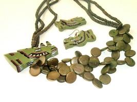 Vtg Rhino Tribal Safari Carved Wood Wild Animal Statement Necklace earri... - $34.60