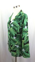 Button Down Dress Shirt Laura Scott Size 18 Sheer Green Day Lilly Print... - $10.36
