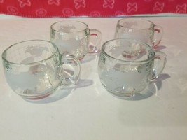 NESTLE NESCAFE World Globe Frosted Glass COFFEE CUPS MUGS Vintage lot S... - $51.23