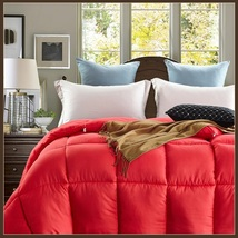 King Size Red Jacquard Weave Silk Quilted White Duck Down Duvet Comforter  image 1