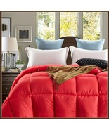 King Size Red Jacquard Weave Silk Quilted White Duck Down Duvet Comforter  - $289.95