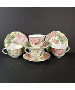 Nikko Tableware Rose Pattern Tea Cup and Saucer 2 Sets Made in Japan c1990s - $39.99