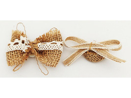 Brown Burlap Bows with Lace and Pearl Centers image 2