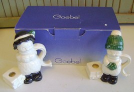 VINTAGE~GOEBEL~PAIR OF SNOWMEN~SNOW COUPLE~CANDLE HOLDERS~FIGURINES~WEST... - $16.82