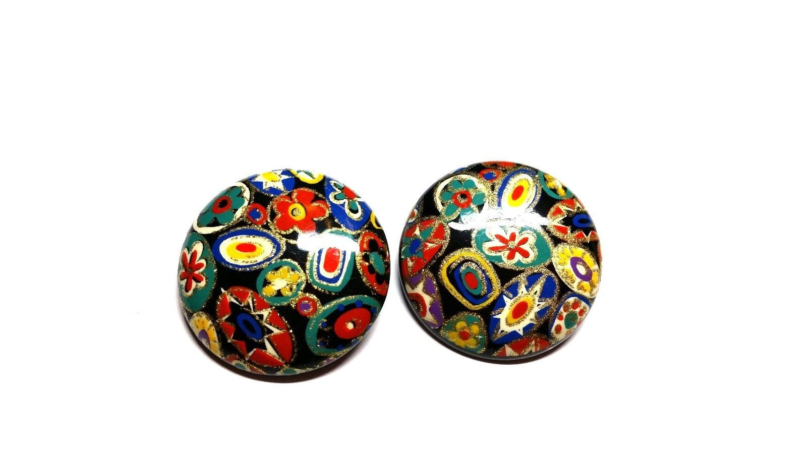Vintage Lucite Multi Color Mosaic Look Clip on Earrings
