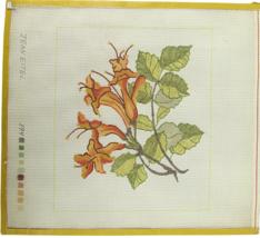 1970's Vintage Jean Etiel Hand Painted Needlepoint Orange Day Lilies 14C... - $28.35