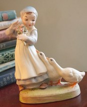 Figurine Homco Girl Ducks Geese Farm Vintage C.1950's Porcelain Bisque - $39.99