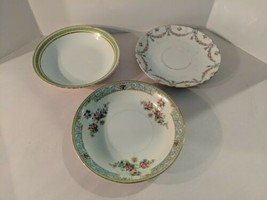 Shabby Chic Set of 3 Mismatched Saucers Monarch China Limoges France - $14.80