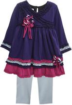 Isobella & Chloe 2 Piece Dress & Leggings Outfit Purple Pink Size 2T Ruf... - $20.94
