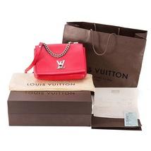 100% Authentic Louis Vuitton Red Rubis Lockme II BB Bag Receipt Mint image 2