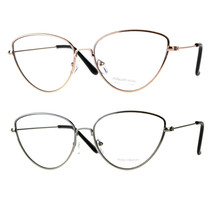 Womens Metal Rim Cat Eye Clear Lens Fashion Eye Glasses - $9.95