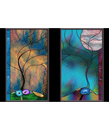 Geode Tree Stained Glass Window Panels leaded glass - $296.00