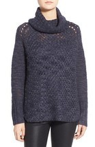 Sanctuary Sweater SZ L Tanzanite Blue Cozy Tunic Turtleneck Knit Sweater - £45.68 GBP