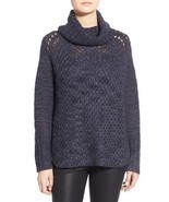 Sanctuary Sweater SZ L Tanzanite Blue Cozy Tunic Turtleneck Knit Sweater - $61.64