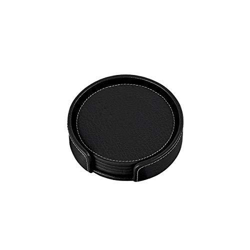 Primary image for Monogram Online Coasters, Leather Set of 4, Black