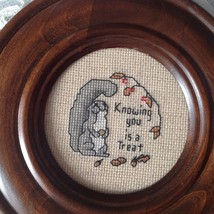 "Needlepoint handmade Round Vintage Stitched 7.5"" Framed Knowing You Is a... - $19.79"