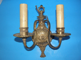 ANTIQUE VINTAGE  BRONZE/ BRASS  ORNATE SCONCE W... - $61.70