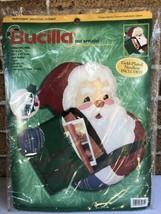 Vtg Bucilla Santa Claus Christmas Card Mail Holder Felt Applique Kit 84271 - $28.00