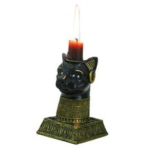 5 Inch Egyptian Bastet Hand Painted Resin Candle Holder, Gold Color - $17.99
