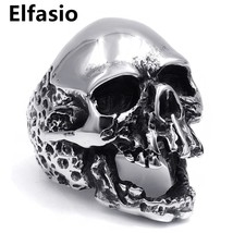 Mens Boys Stainless Steel Ring Band Silver Rock punk Skull New Fashion J... - $19.52