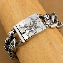 Men Huge 316L Stainless Steel Deep Laser Engraved Pirate Skulls Charm Bracelet image 3