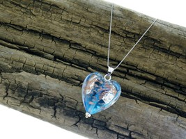 14K White Gold Chain MURANO Puffed Heart Pendant Blue Glass 14K Gold Acc... - $94.05