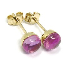 18K YELLOW GOLD BUTTON LOBE EARRINGS, CABOCHON PINK TOURMALINE DIAMETER 6mm image 2