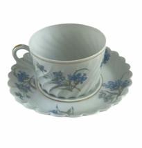 Antique Haviland Bergere Limoges France Fluted Cup Saucer Porcelain Blue... - $46.44
