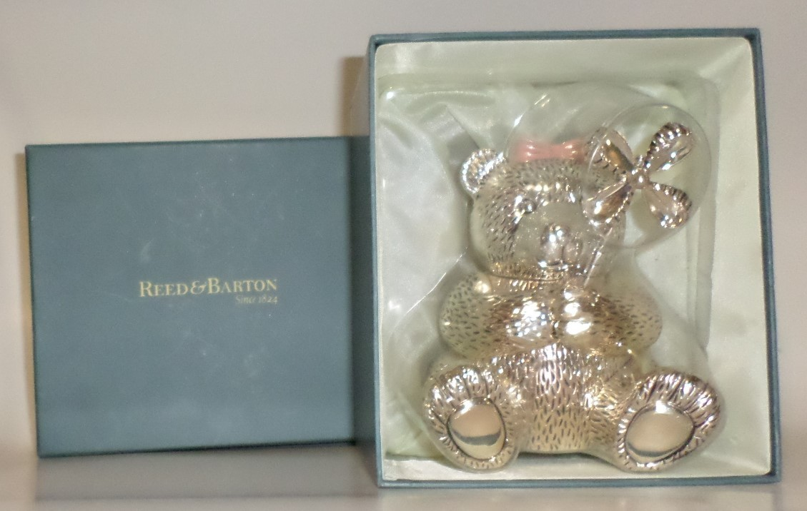 Reed & Barton Baby Girl silver-plated Bear Bank pinwheel shower gift boxed