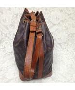Louis Vuitton Brown Mono Bucket Draw String Shoulder Bag 13inx10inx7in (NDC) - $360.95
