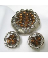 Vintage BSK Amber Rhinestone Brooch Pin Earrings Parure - $44.99