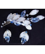Blue White Lava Rhinestones Brooch Pin Earrings Set - $104.99