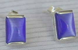 Mini blue rectangle earrings - $15.00