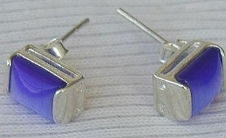 Mini blue rectangle earrings