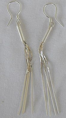 Silver pipes earrings