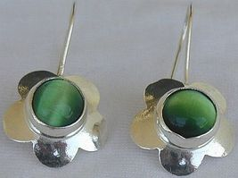 Green flowers earrings - $20.00