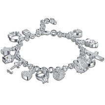 Swarovski Inspired Charms Bracelet in 18K White Gold Plated - $11.75