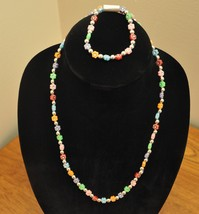 Necklace And Bracelet Set Handmade Plastic Multi- Colored Beaded Stars - $17.00